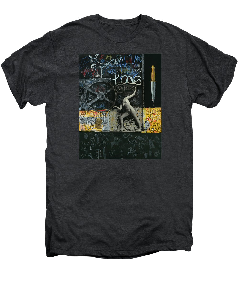 City Men's Premium T-Shirt featuring the painting New York City by Yelena Tylkina