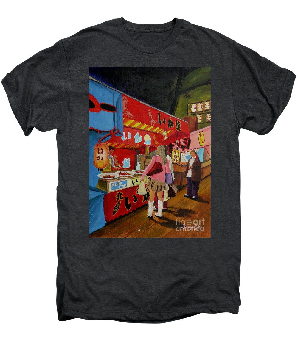 Japan Men's Premium T-Shirt featuring the painting Night Festival by Anthony Dunphy