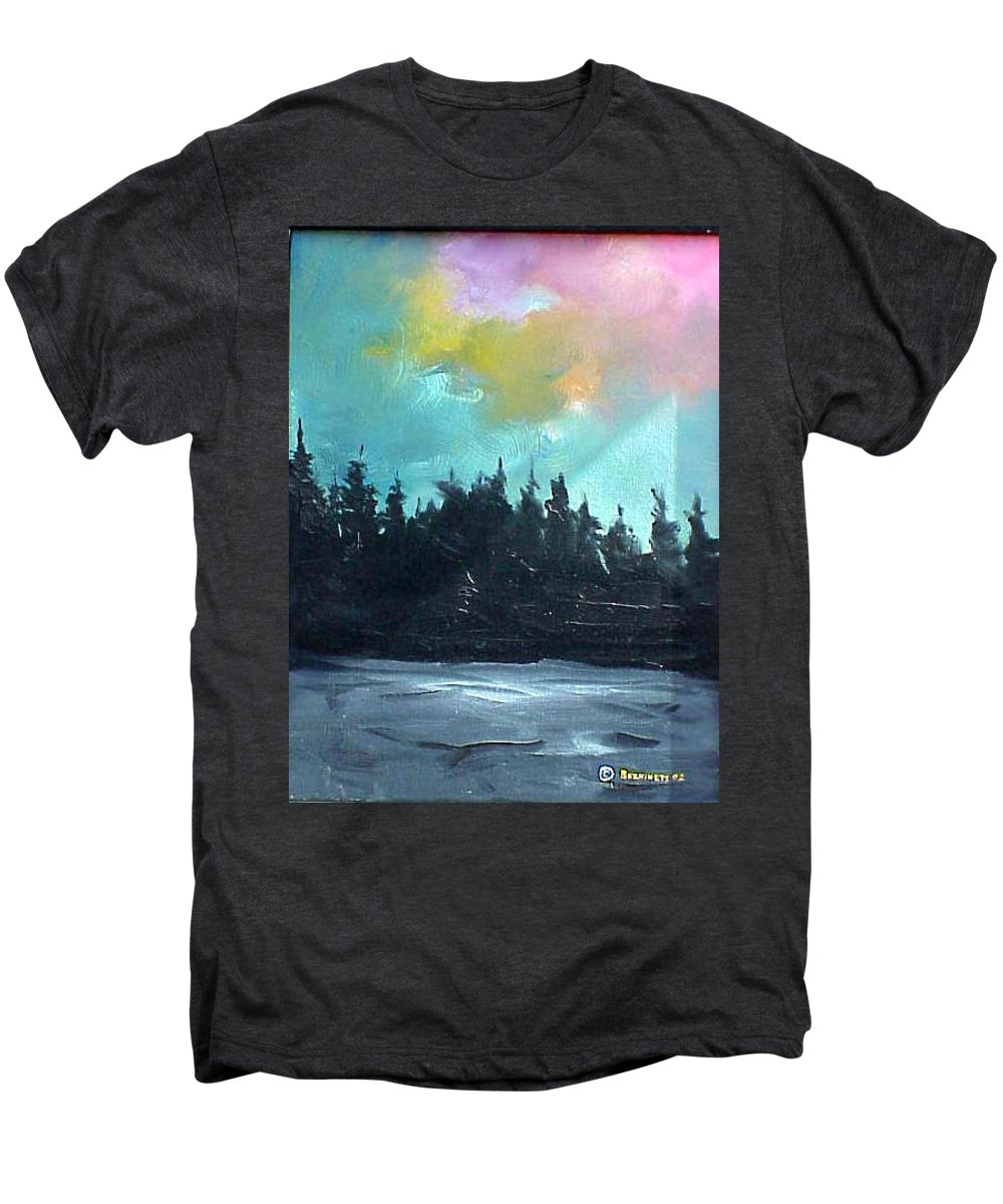 Landscape Men's Premium T-Shirt featuring the painting Night River by Sergey Bezhinets