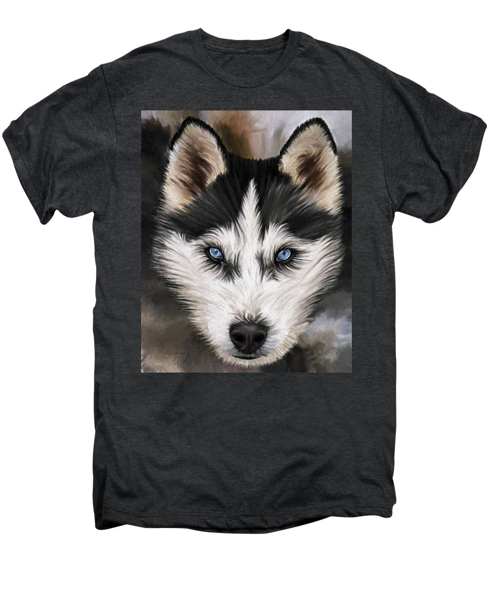 Dog Art Men's Premium T-Shirt featuring the painting Nikki by David Wagner