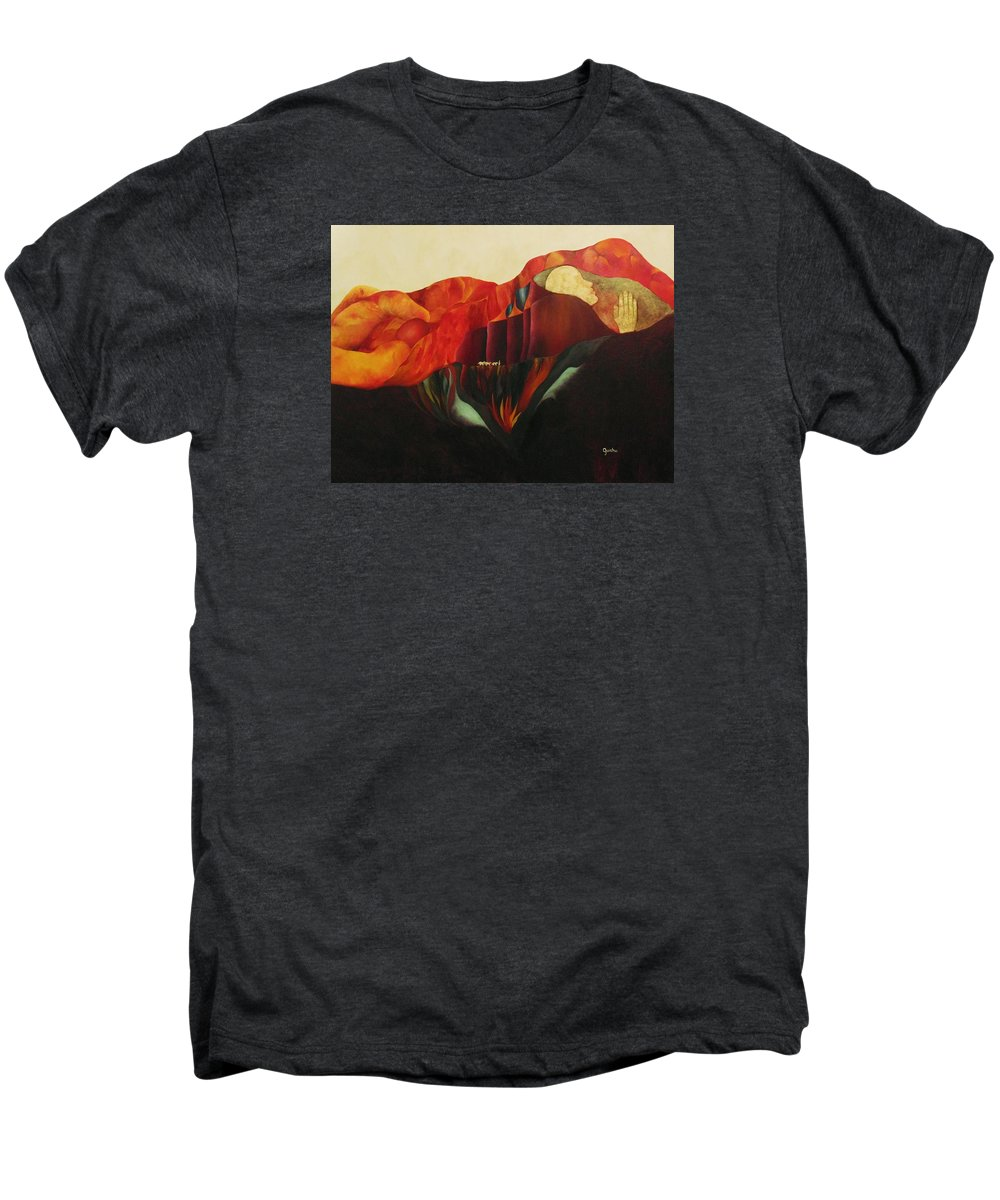 Oil Men's Premium T-Shirt featuring the painting On The Road To Enlightenment by Peggy Guichu