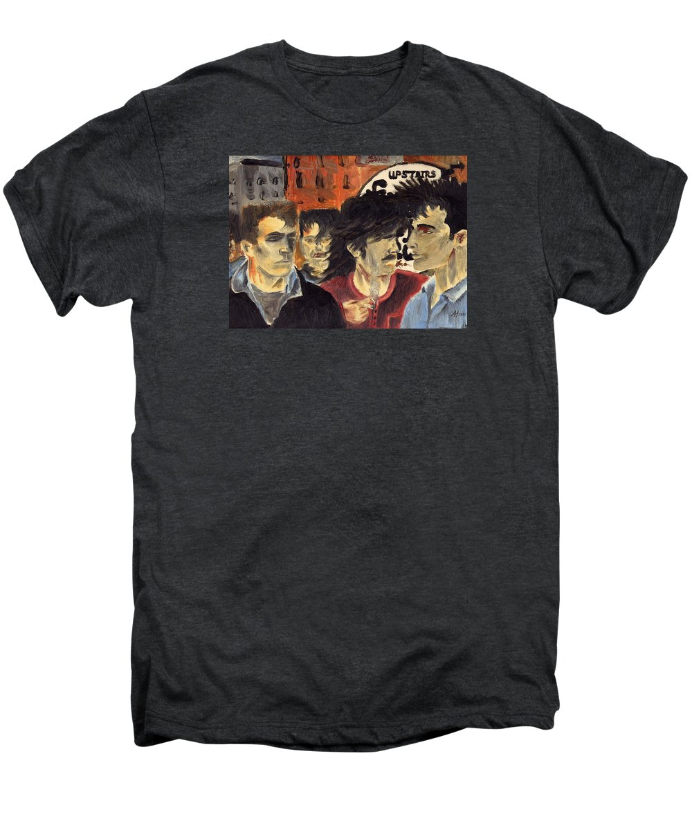 Eighties Men's Premium T-Shirt featuring the painting On The Street by Alan Hogan