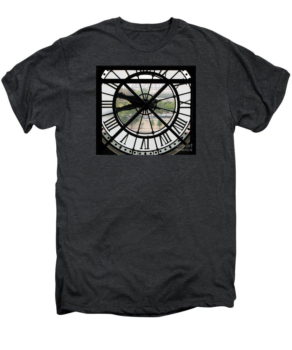 Clock Men's Premium T-Shirt featuring the photograph Paris Time by Ann Horn