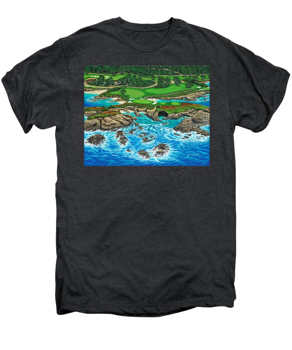 Ocean Men's Premium T-Shirt featuring the painting Pebble Beach 15th Hole-north by Jane Girardot