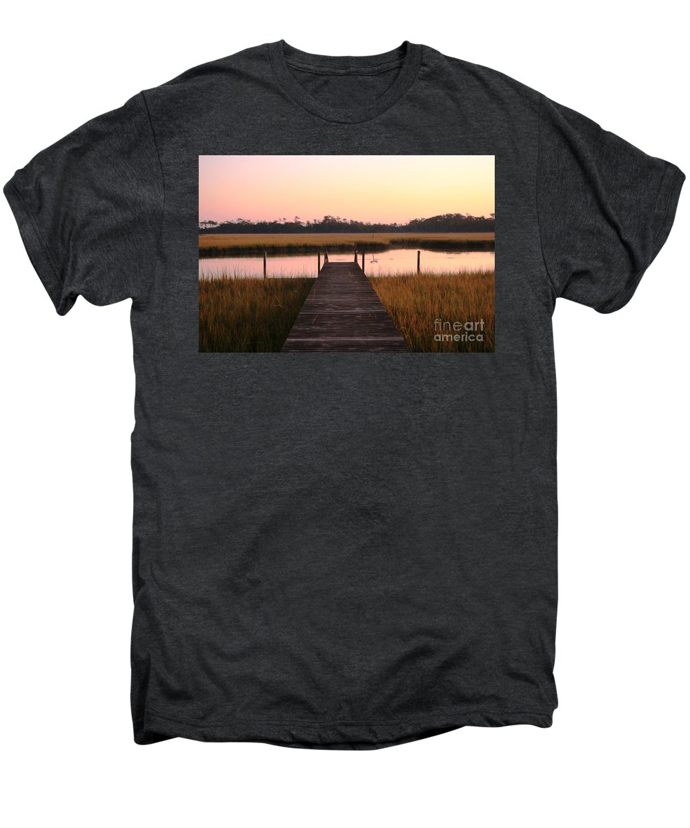 Pink Men's Premium T-Shirt featuring the photograph Pink And Orange Morning On The Marsh by Nadine Rippelmeyer