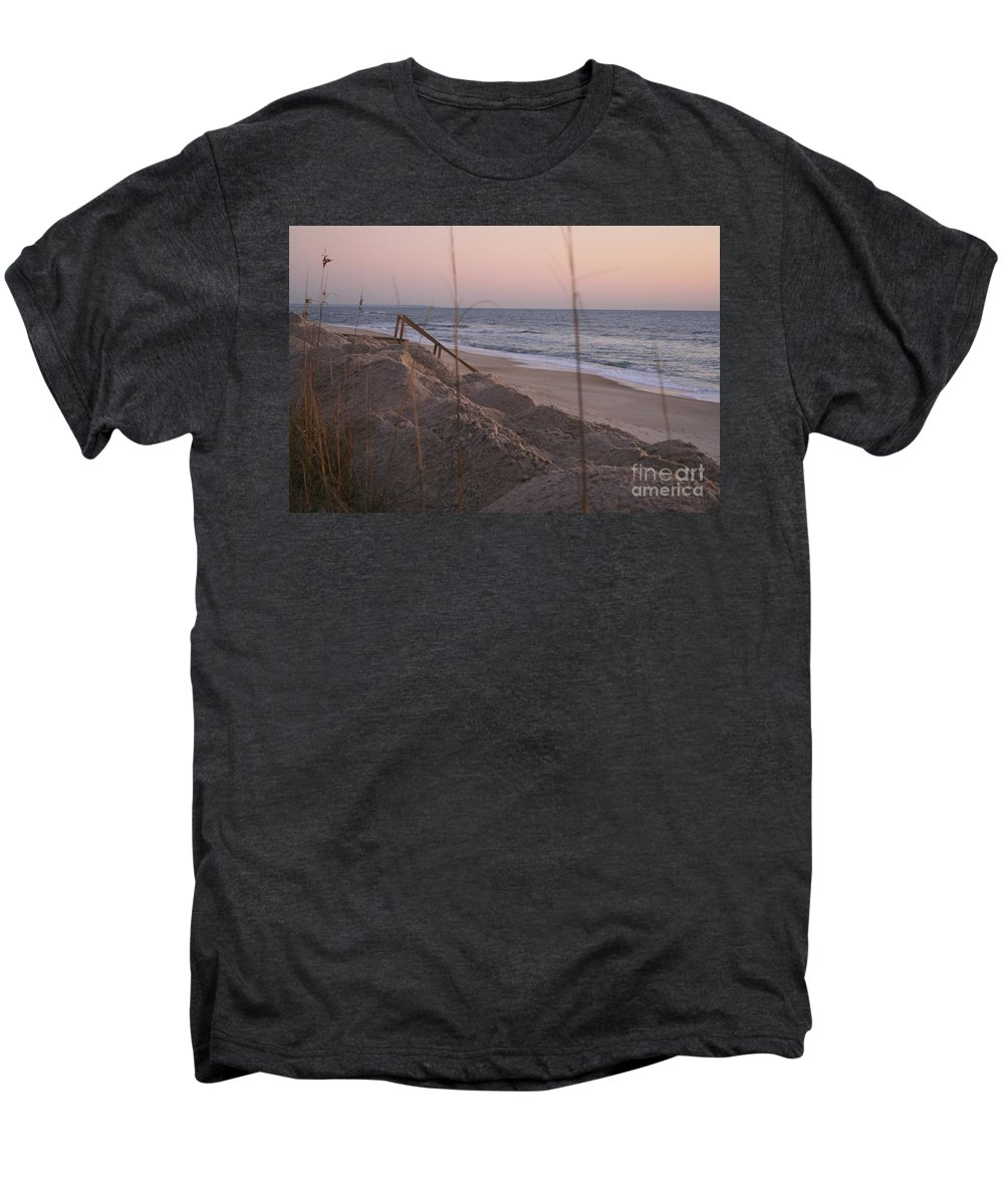 Pink Men's Premium T-Shirt featuring the photograph Pink Sunrise On The Beach by Nadine Rippelmeyer