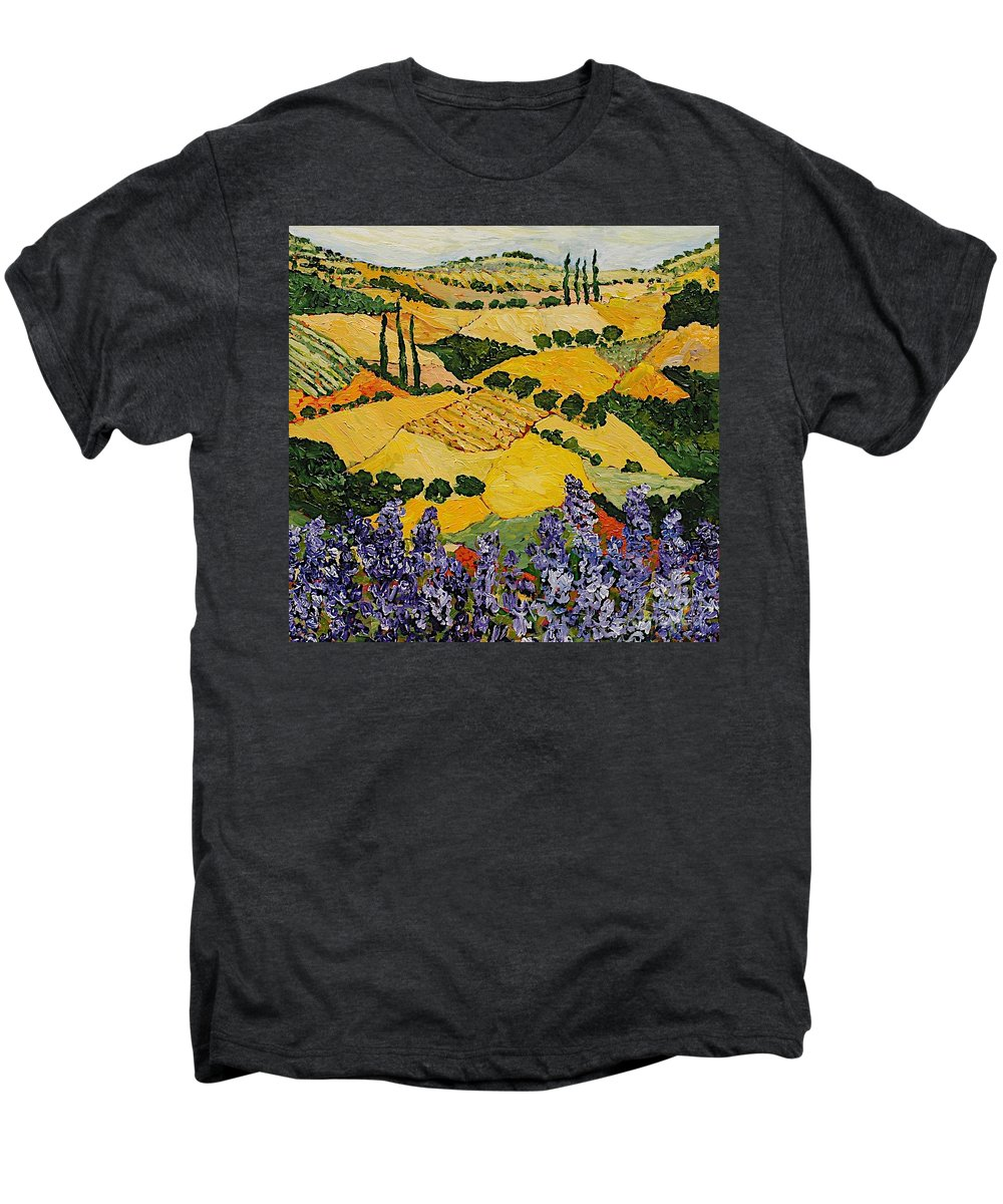Landscape Men's Premium T-Shirt featuring the painting Piping Hot by Allan P Friedlander