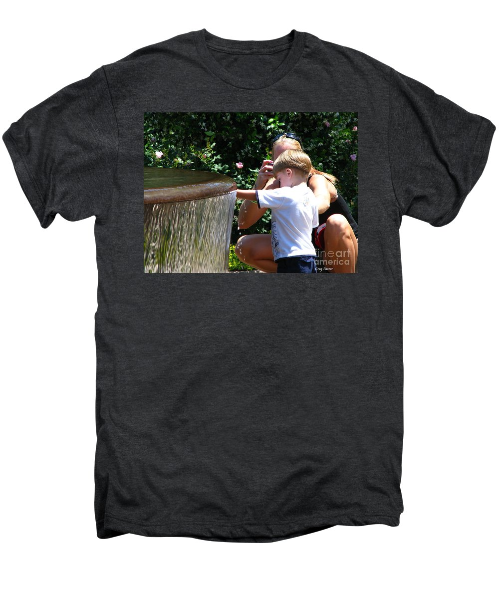 Art For The Wall...patzer Photography Men's Premium T-Shirt featuring the photograph Playing In Water by Greg Patzer