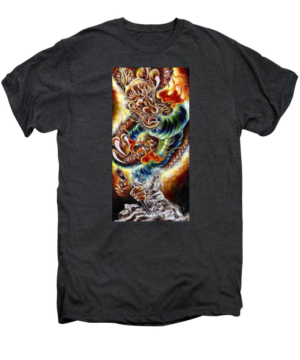 Caving Men's Premium T-Shirt featuring the painting Power Of Spirit by Hiroko Sakai