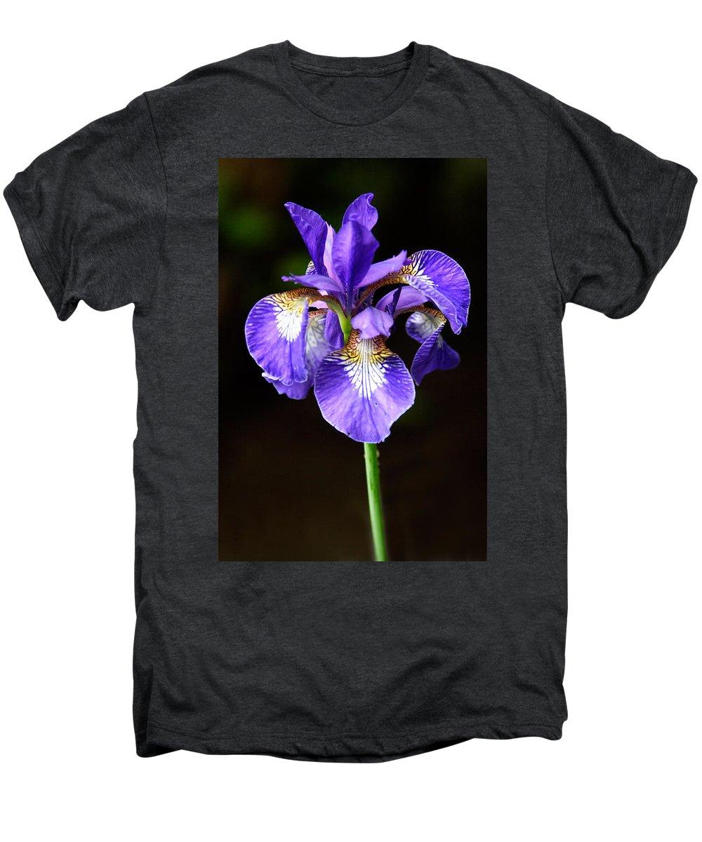 3scape Men's Premium T-Shirt featuring the photograph Purple Iris by Adam Romanowicz
