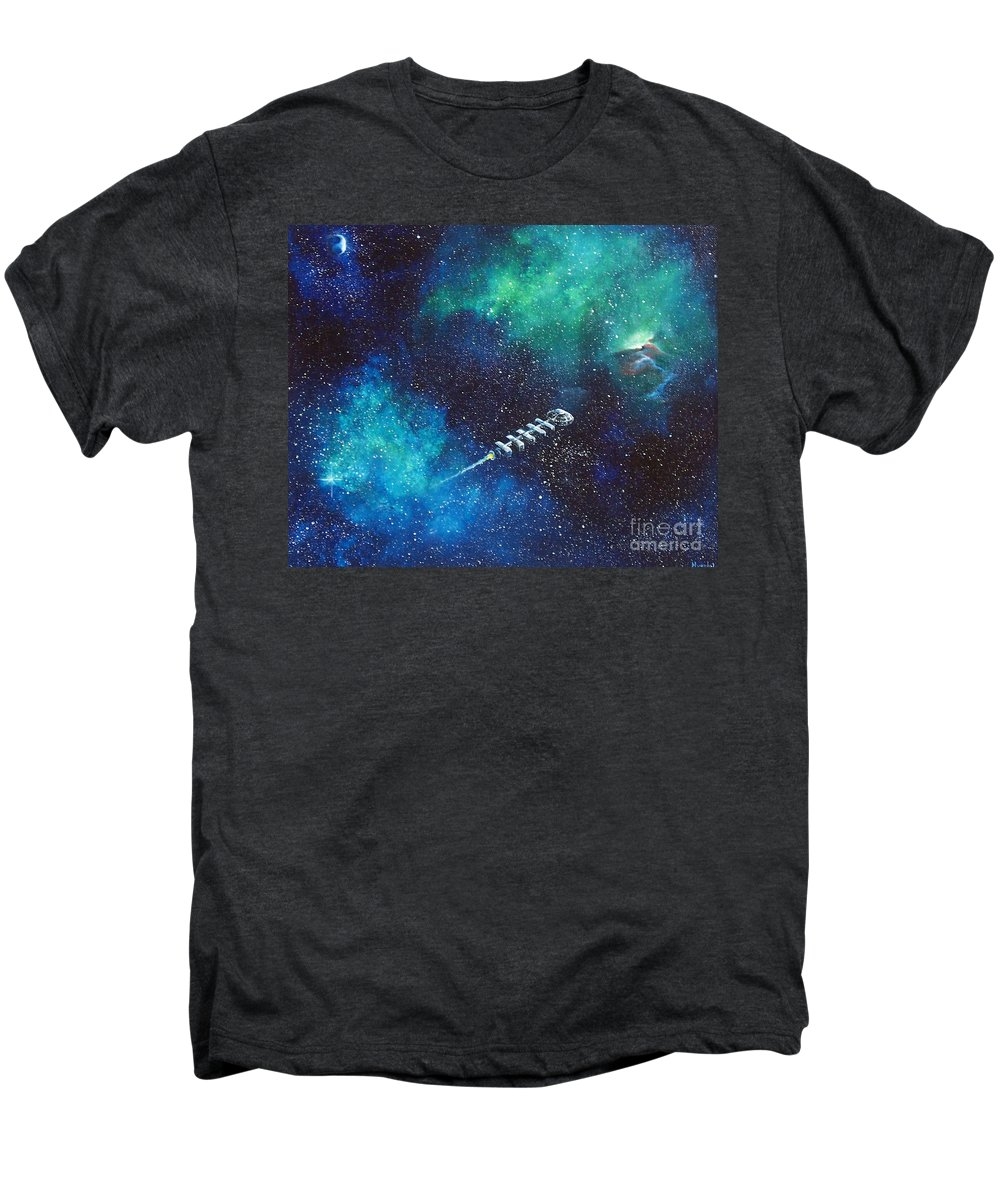 Spacescape Men's Premium T-Shirt featuring the painting Reaching Out by Murphy Elliott
