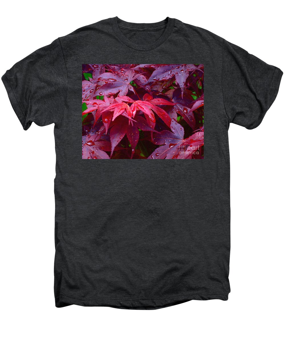 Rain Men's Premium T-Shirt featuring the photograph Red Maple After Rain by Ann Horn