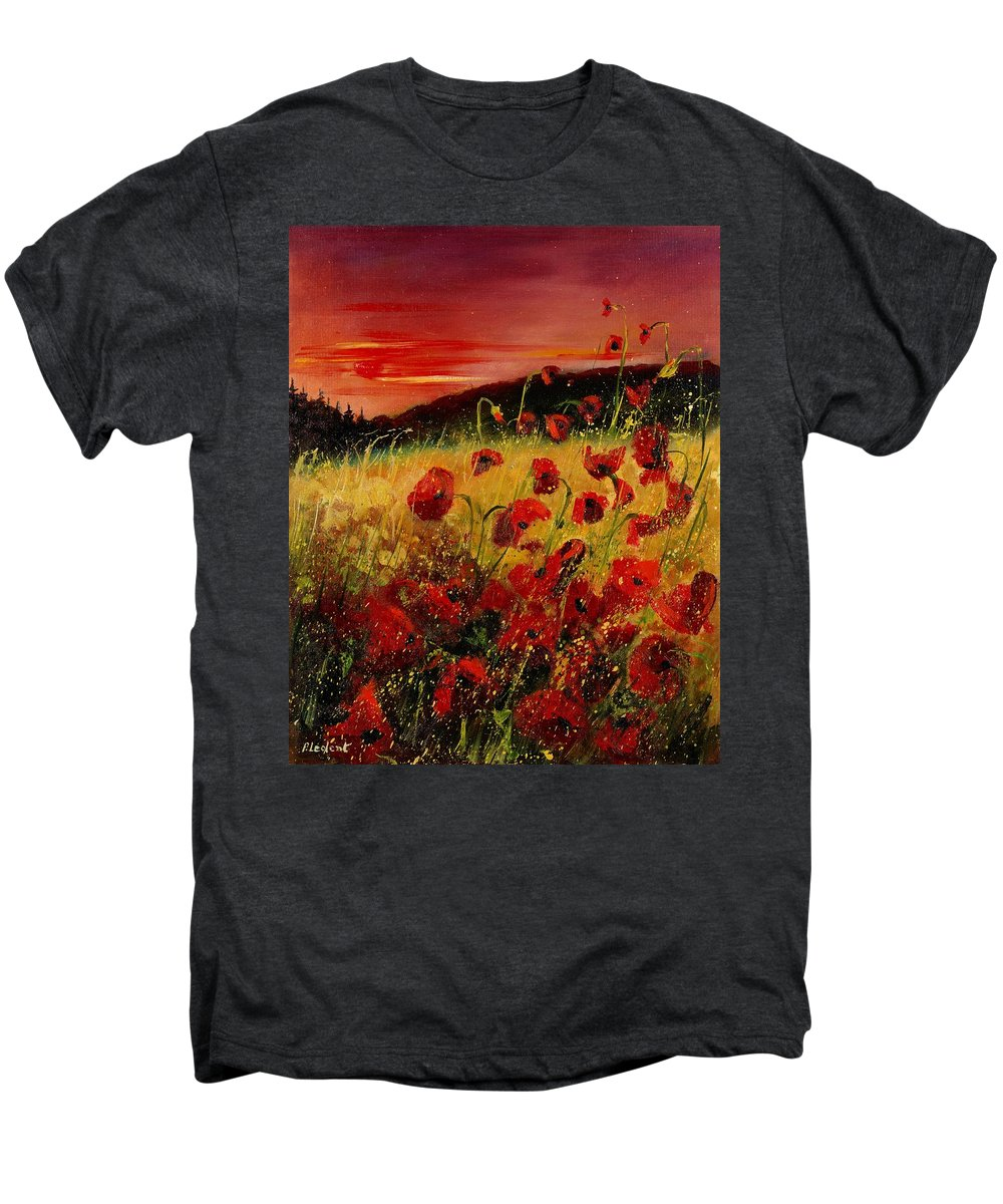 Poppies Men's Premium T-Shirt featuring the painting Red Poppies And Sunset by Pol Ledent
