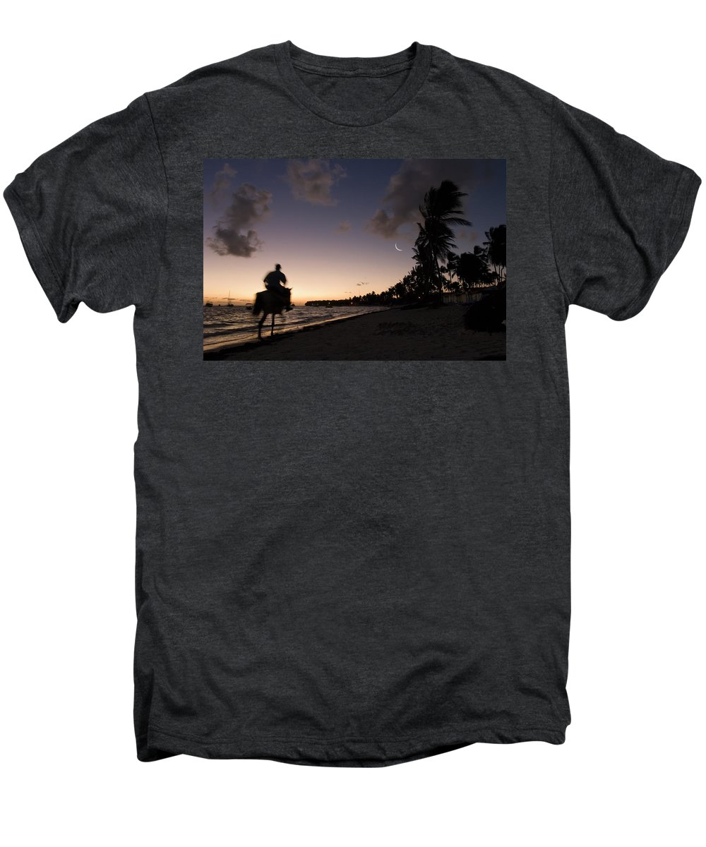 3scape Men's Premium T-Shirt featuring the photograph Riding On The Beach by Adam Romanowicz