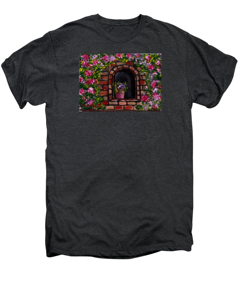 Rose Men's Premium T-Shirt featuring the painting Rosary by Laurie Morgan