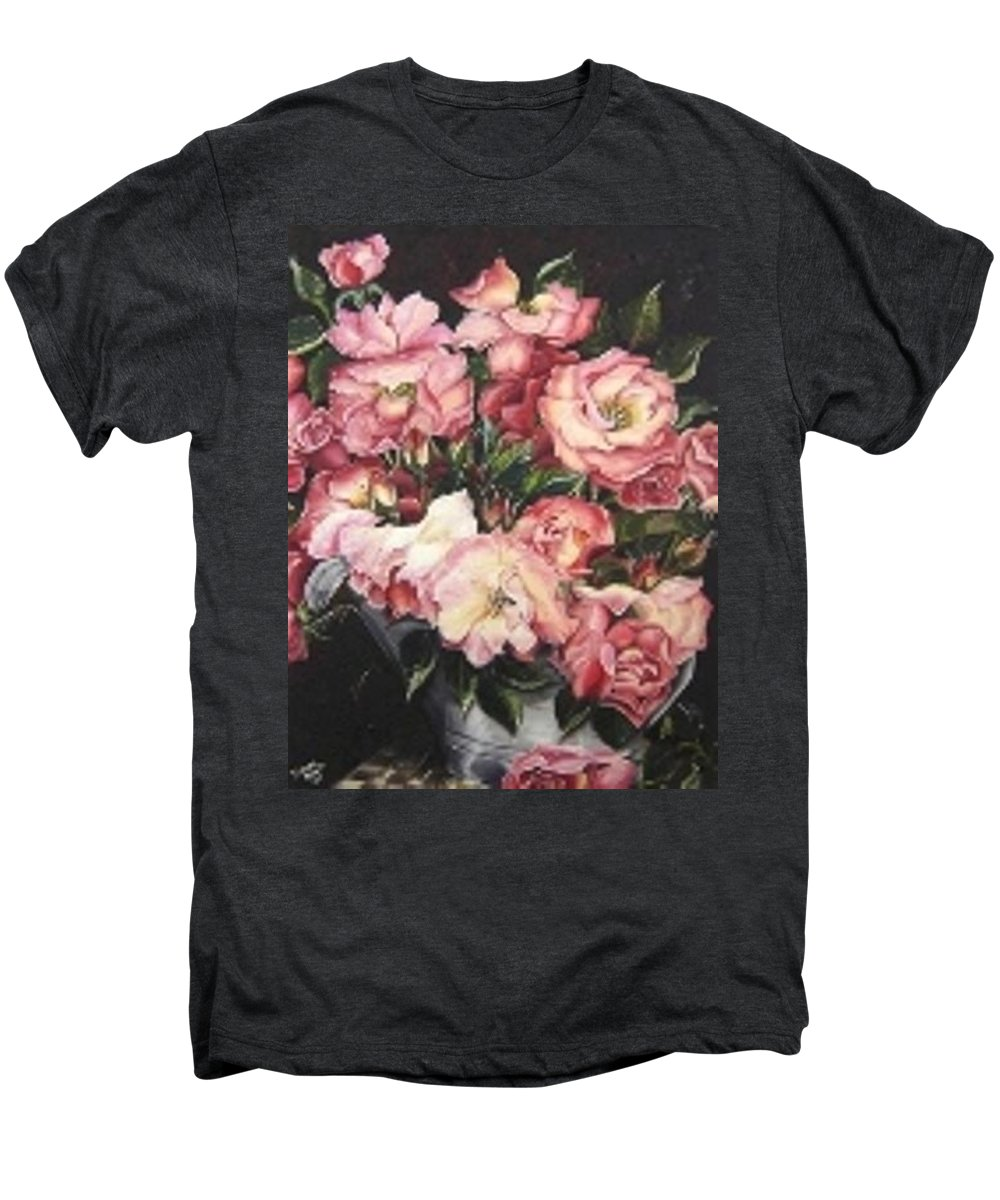 Pink Roses Floral Flowers Men's Premium T-Shirt featuring the painting Roses In A Watercan by Karin Dawn Kelshall- Best