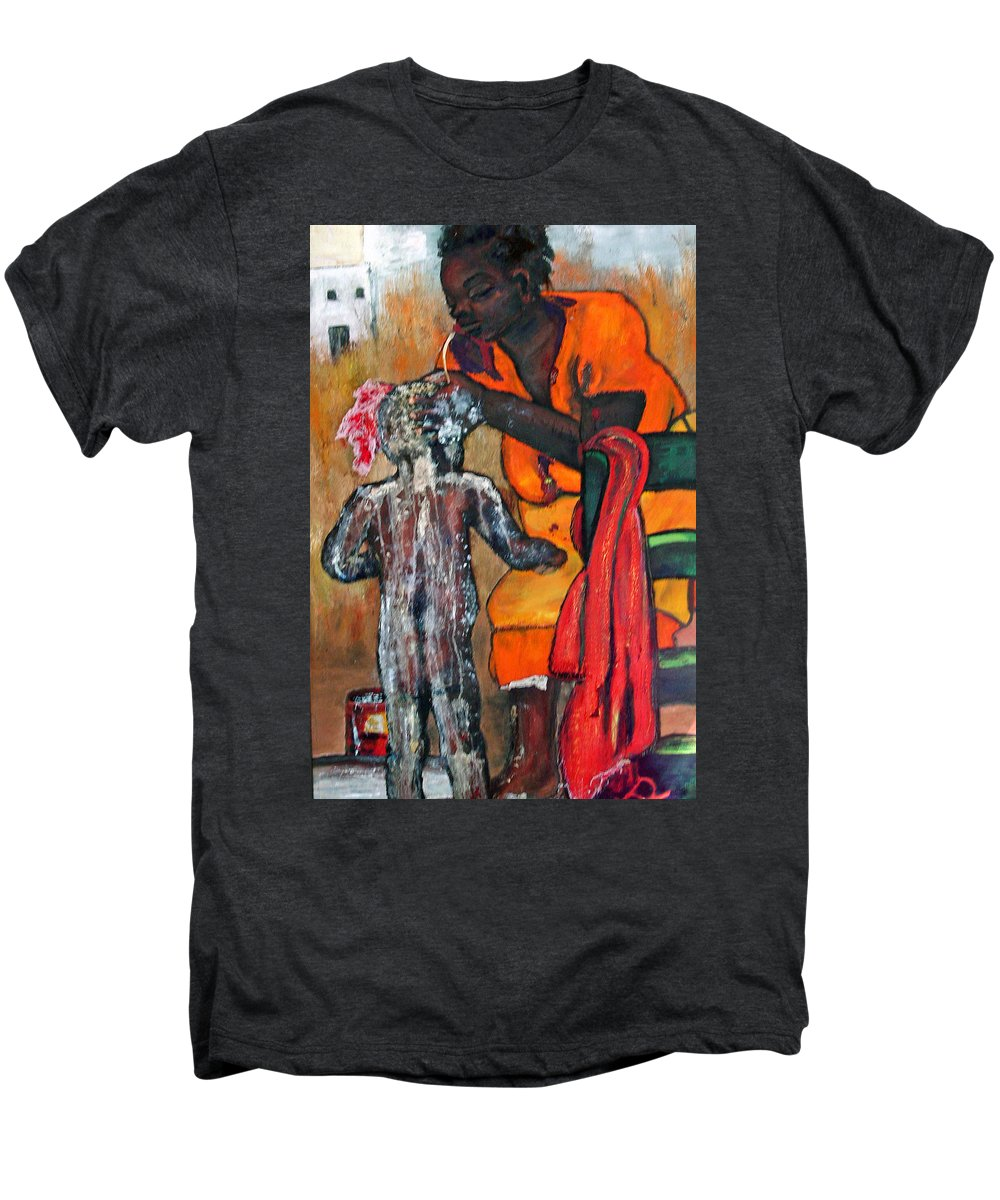 Mom Bathing Boy Men's Premium T-Shirt featuring the painting Saturday Night Bath by Peggy Blood