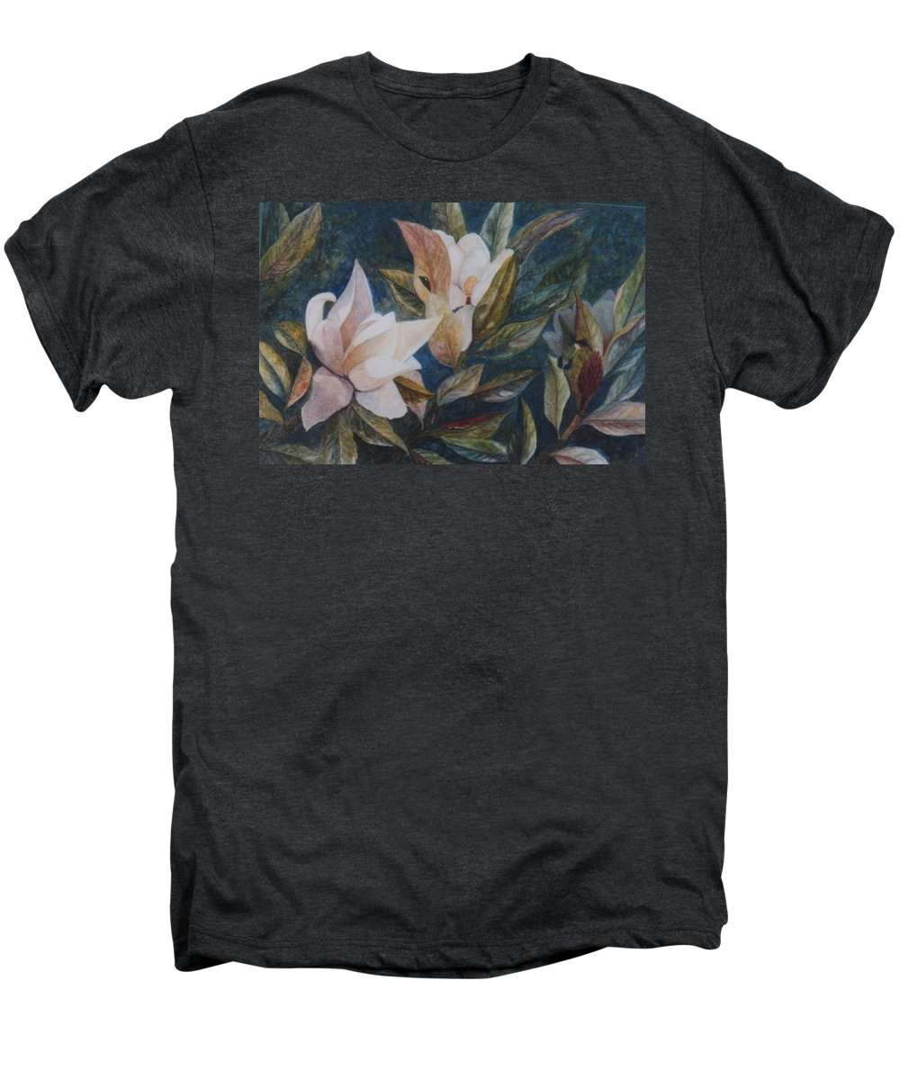 Magnolias; Humming Bird Men's Premium T-Shirt featuring the painting Serenity by Ben Kiger