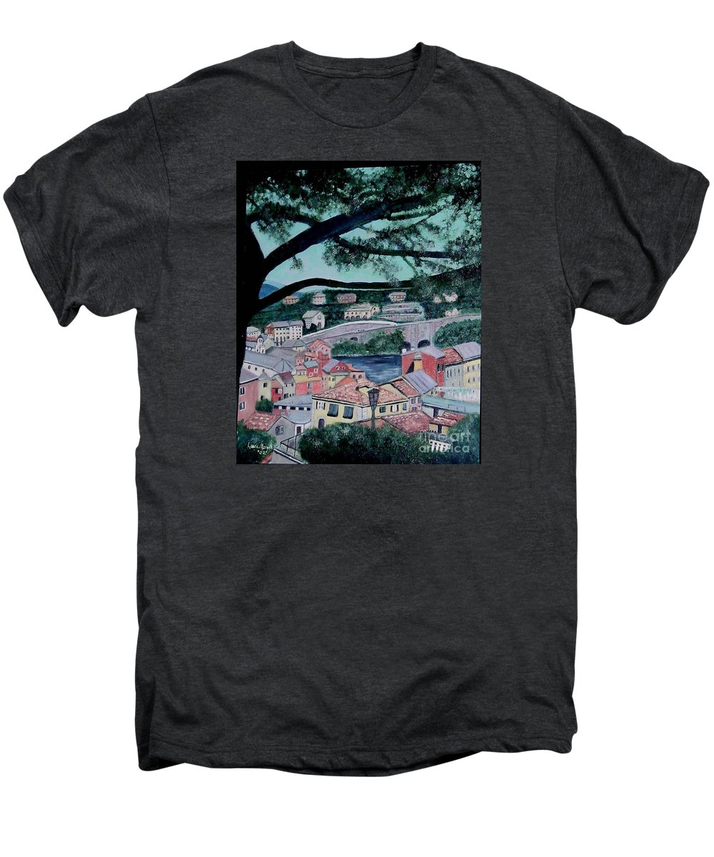 Italy Men's Premium T-Shirt featuring the painting Sestri Levante by Laurie Morgan