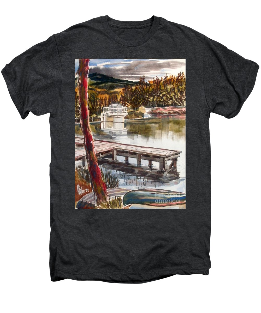 Shepherd Mountain Lake In Twilight Men's Premium T-Shirt featuring the painting Shepherd Mountain Lake In Twilight by Kip DeVore