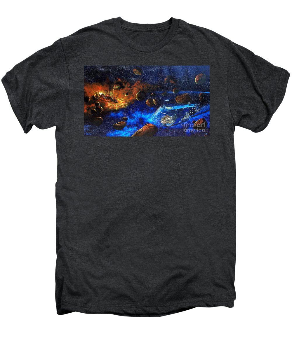 Future Men's Premium T-Shirt featuring the painting Spaceship Titanic by Murphy Elliott