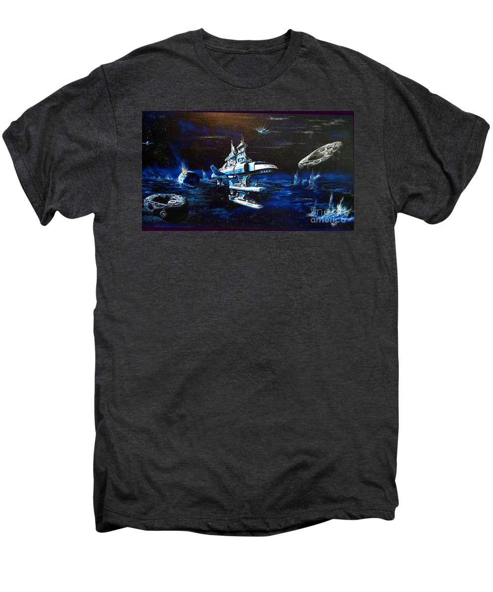 Alien Men's Premium T-Shirt featuring the painting Stellar Cruiser by Murphy Elliott