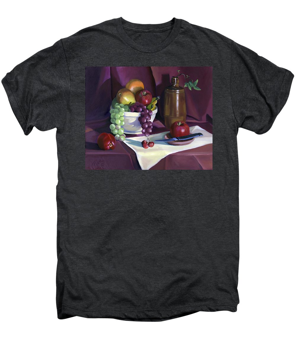 Fine Art Men's Premium T-Shirt featuring the painting Still Life With Apples by Nancy Griswold