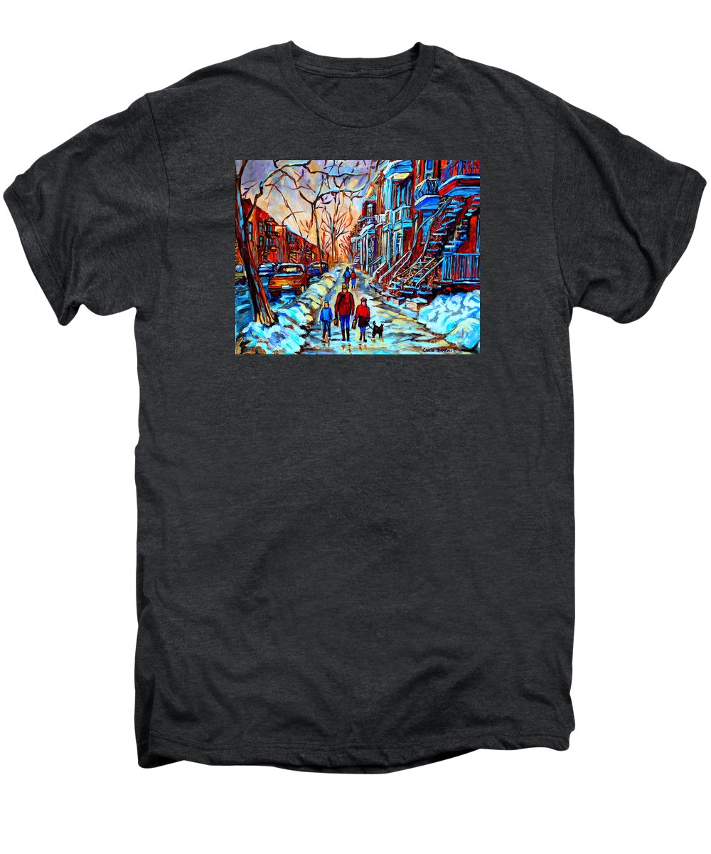Montreal Men's Premium T-Shirt featuring the painting Streets Of Montreal by Carole Spandau