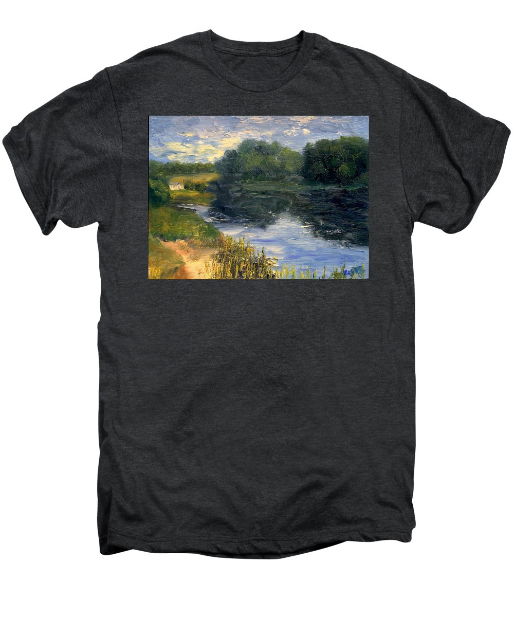 Landscape Men's Premium T-Shirt featuring the painting Summer At Jackson Lake by Gail Kirtz