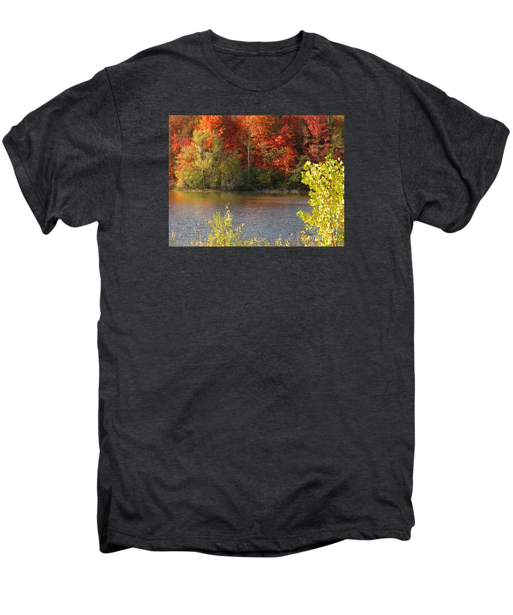 Autumn Men's Premium T-Shirt featuring the photograph Sunlit Autumn by Ann Horn