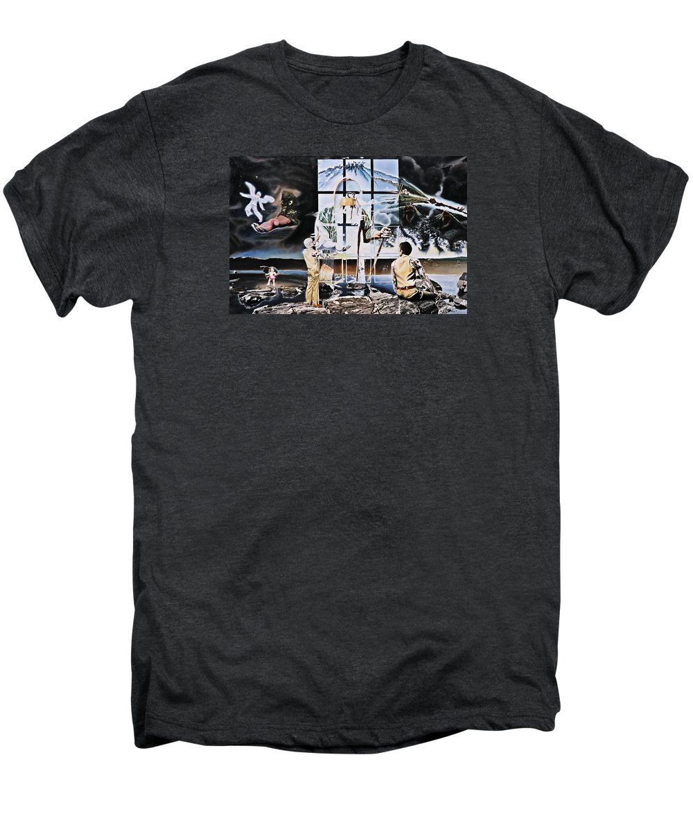 Surreal Men's Premium T-Shirt featuring the painting Surreal Windows Of Allegory by Dave Martsolf