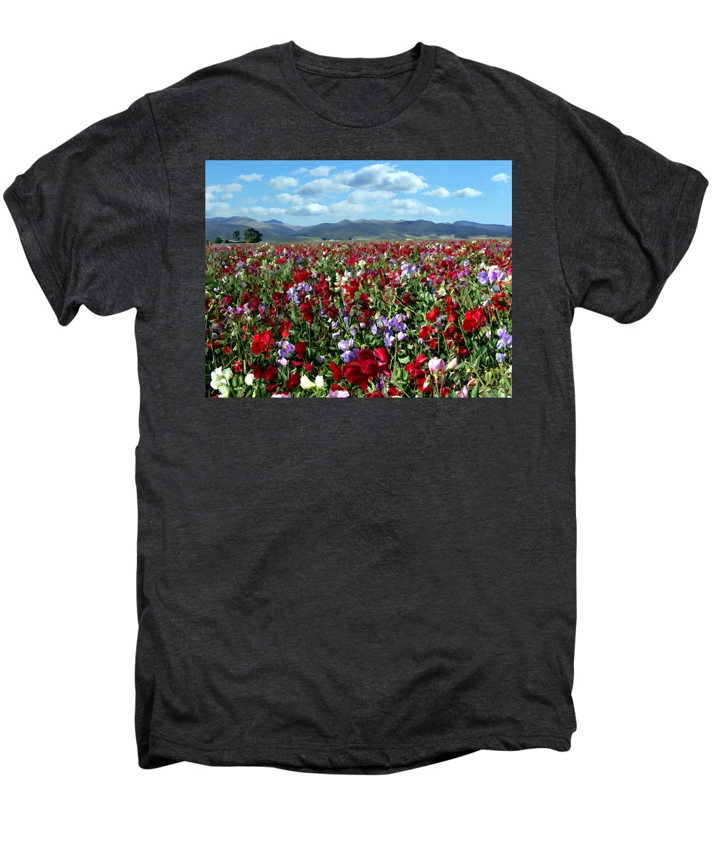 Flowers Men's Premium T-Shirt featuring the photograph Sweet Peas Forever by Kurt Van Wagner