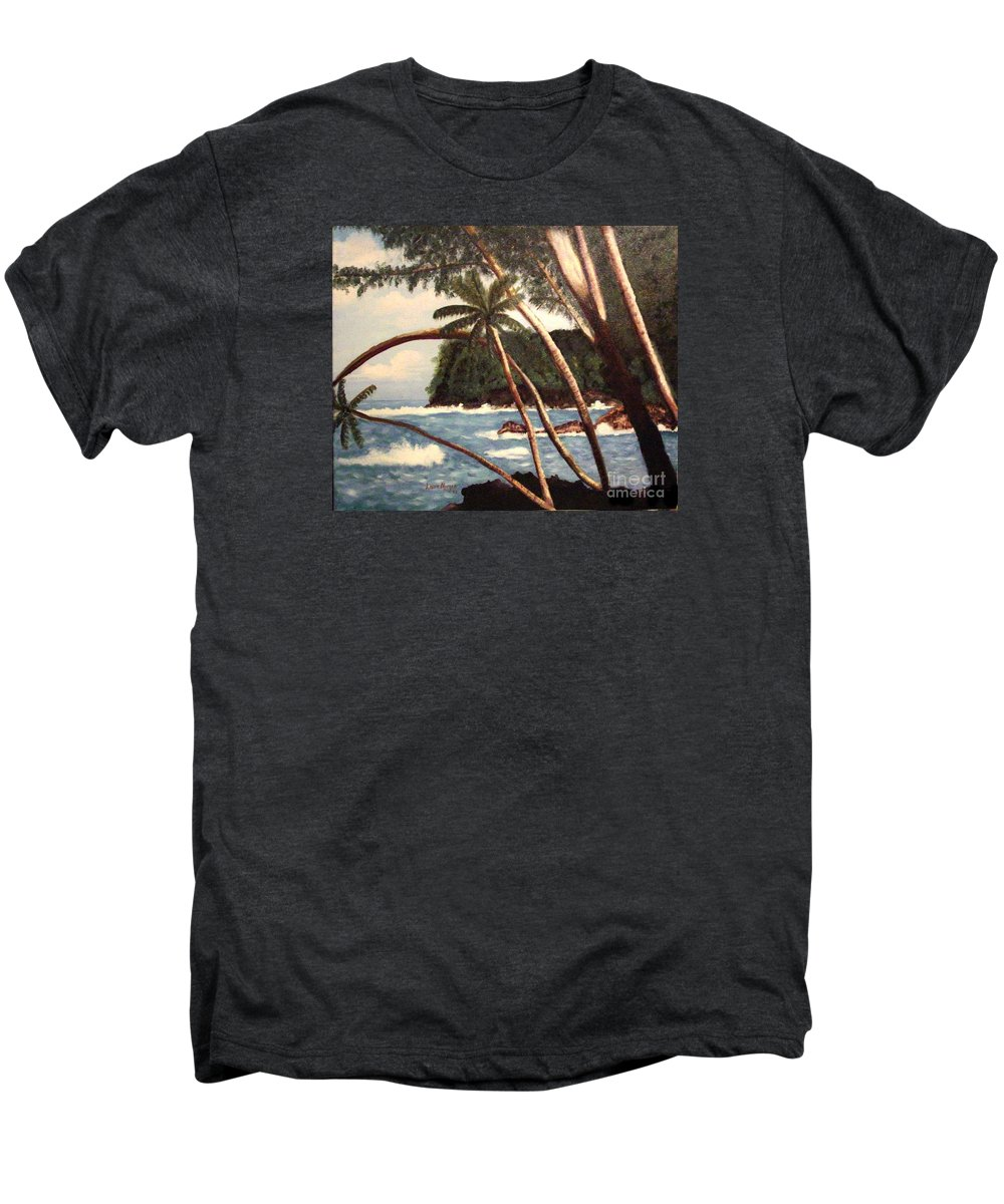 Hawaii Men's Premium T-Shirt featuring the painting The Big Island by Laurie Morgan