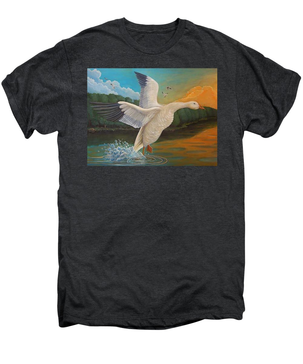Rick Huotari Men's Premium T-Shirt featuring the painting The Landing by Rick Huotari
