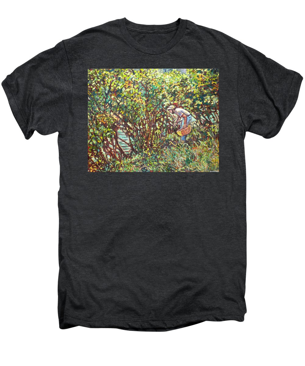 Landscape Men's Premium T-Shirt featuring the painting The Mushroom Picker by Kendall Kessler
