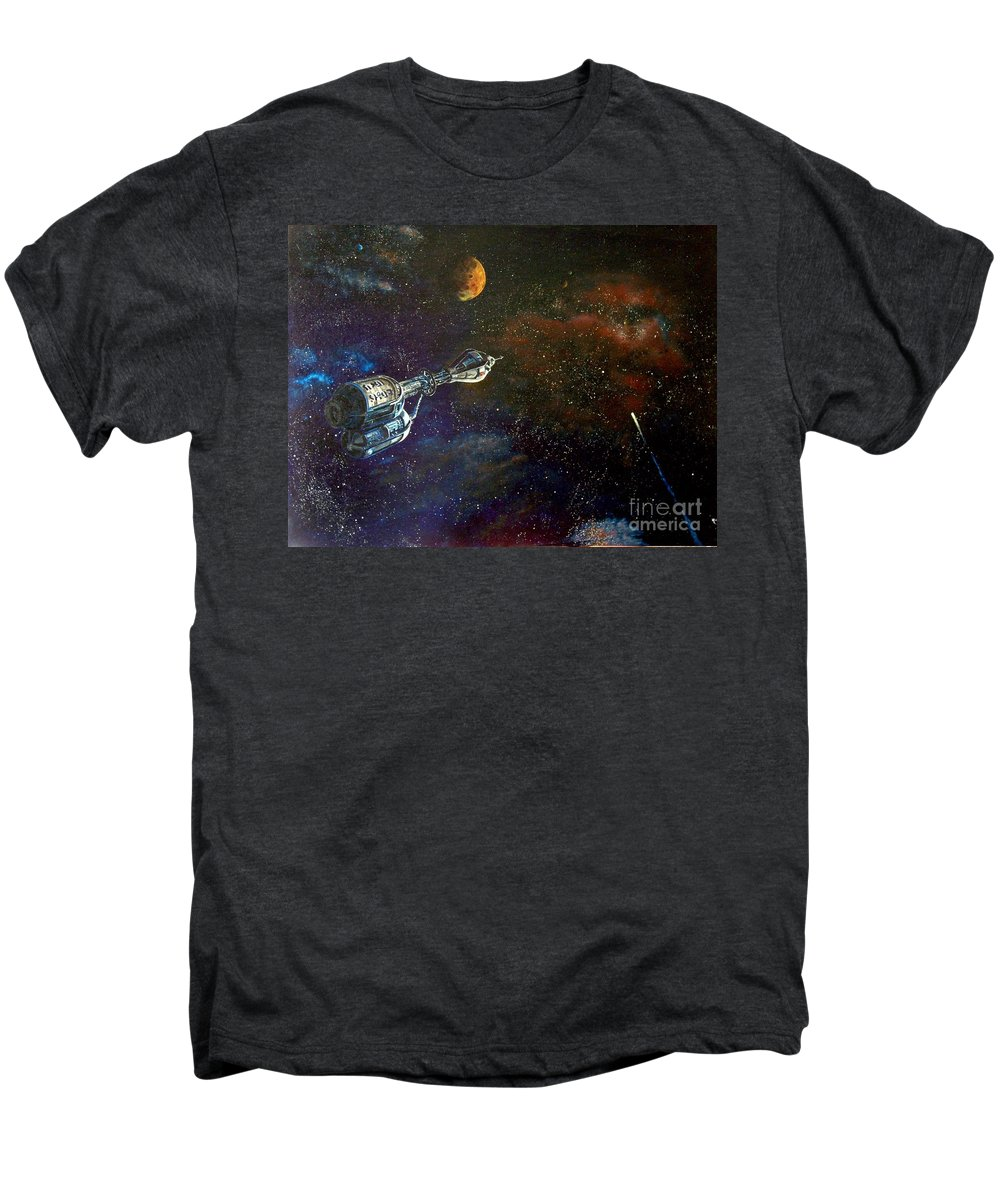 Vista Horizon Men's Premium T-Shirt featuring the painting The Search For Earth by Murphy Elliott