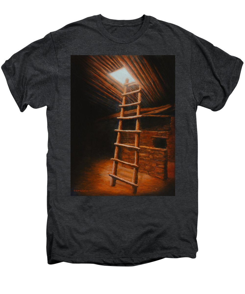Kiva Men's Premium T-Shirt featuring the painting The Second World by Jerry McElroy