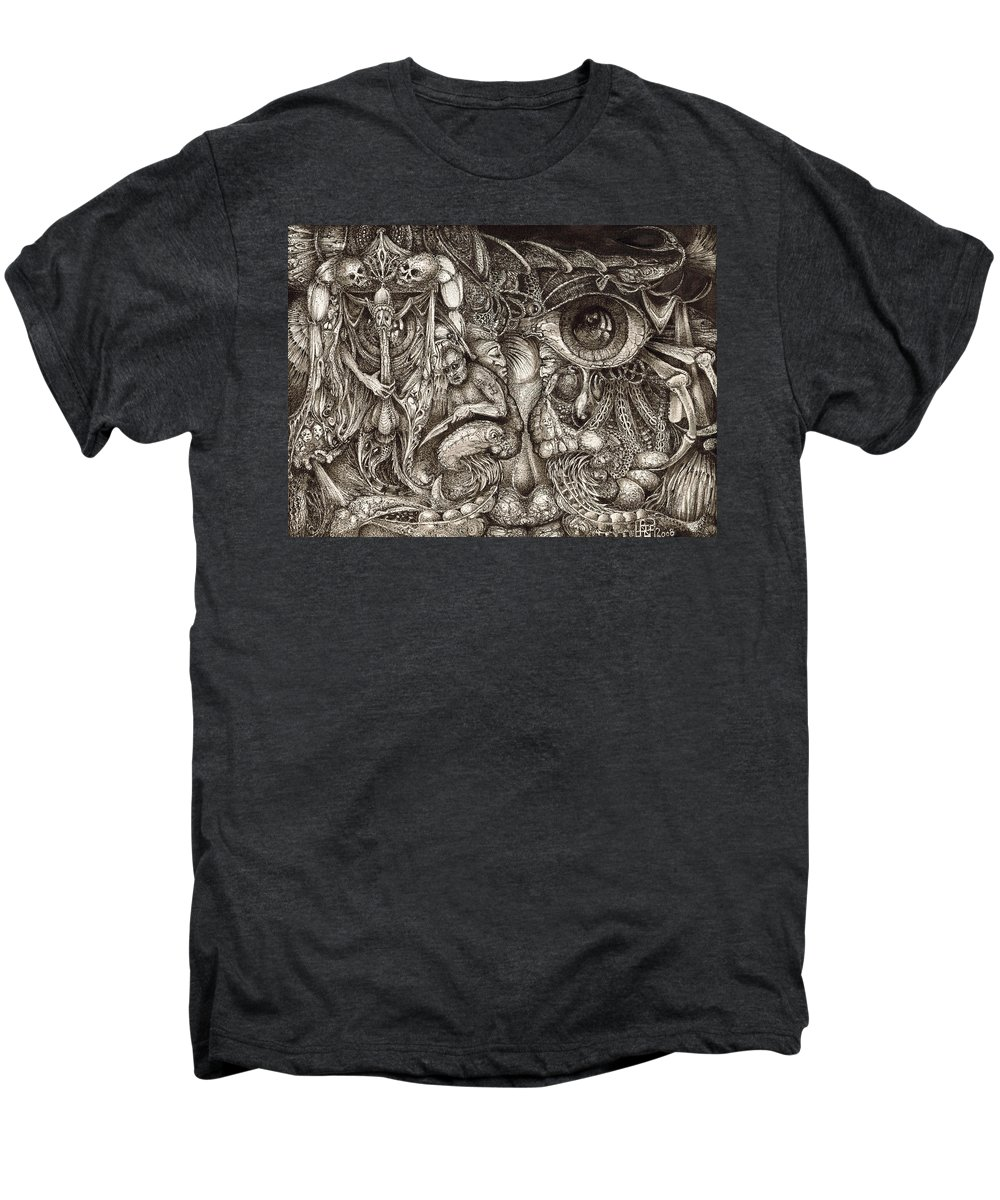 Surreal Men's Premium T-Shirt featuring the drawing Tripping Through Bogomils Mind by Otto Rapp