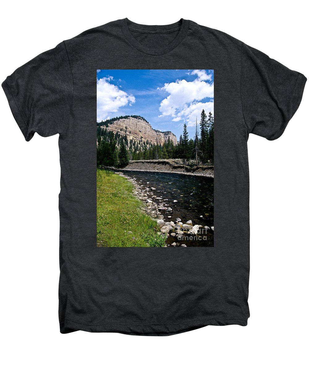 Landscape Men's Premium T-Shirt featuring the photograph Upriver In Washake Wilderness by Kathy McClure