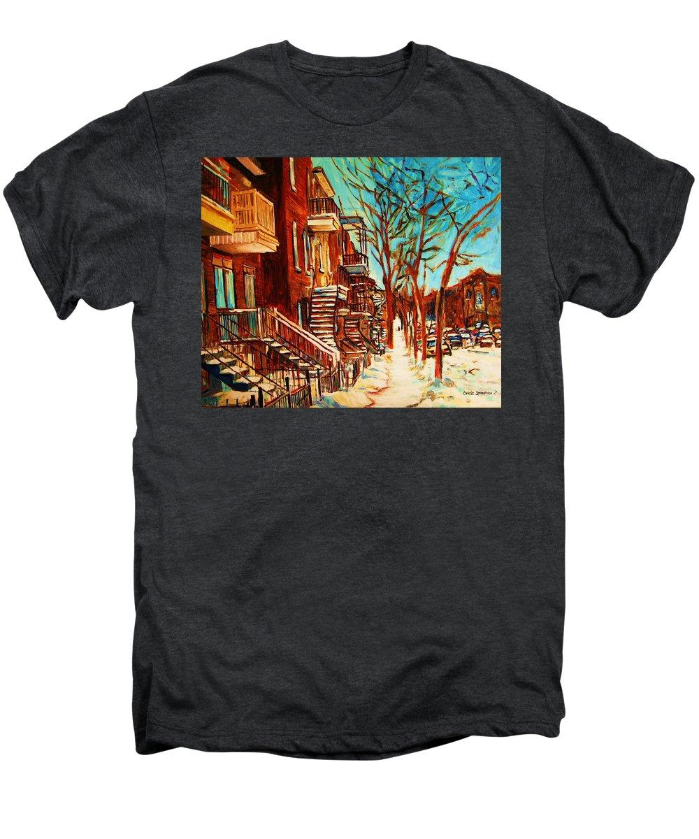 Verdun Paintings By Montreal Street Scene Artist Carole Spandau Men's Premium T-Shirt featuring the painting Winter Staircase by Carole Spandau