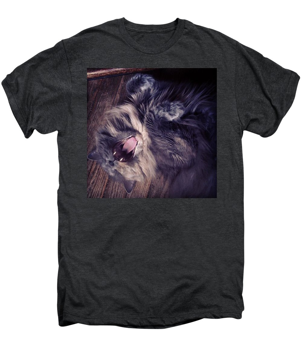 Fangs Men's Premium T-Shirt featuring the photograph Has #fangs. Not Afraid To Use 'em by Katie Cupcakes