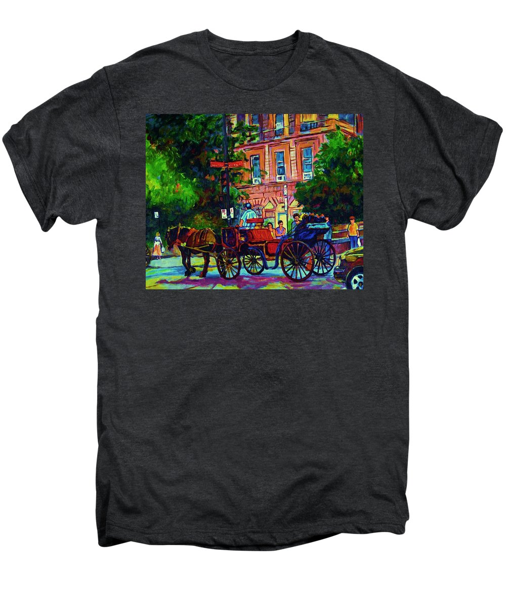 Rue Notre Dame Men's Premium T-Shirt featuring the painting Horsedrawn Carriage by Carole Spandau