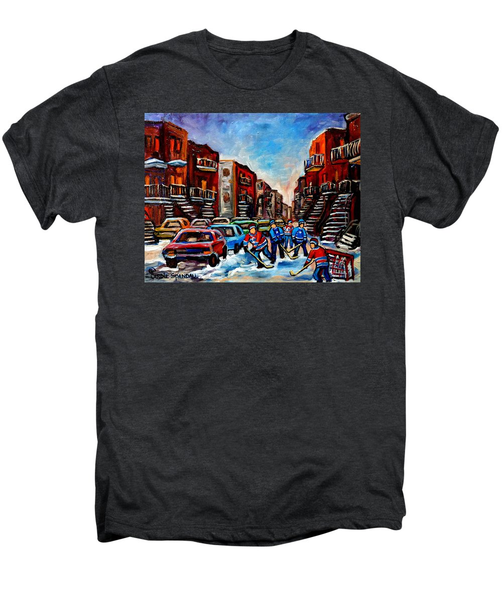 Montreal Men's Premium T-Shirt featuring the painting Late Afternoon Street Hockey by Carole Spandau