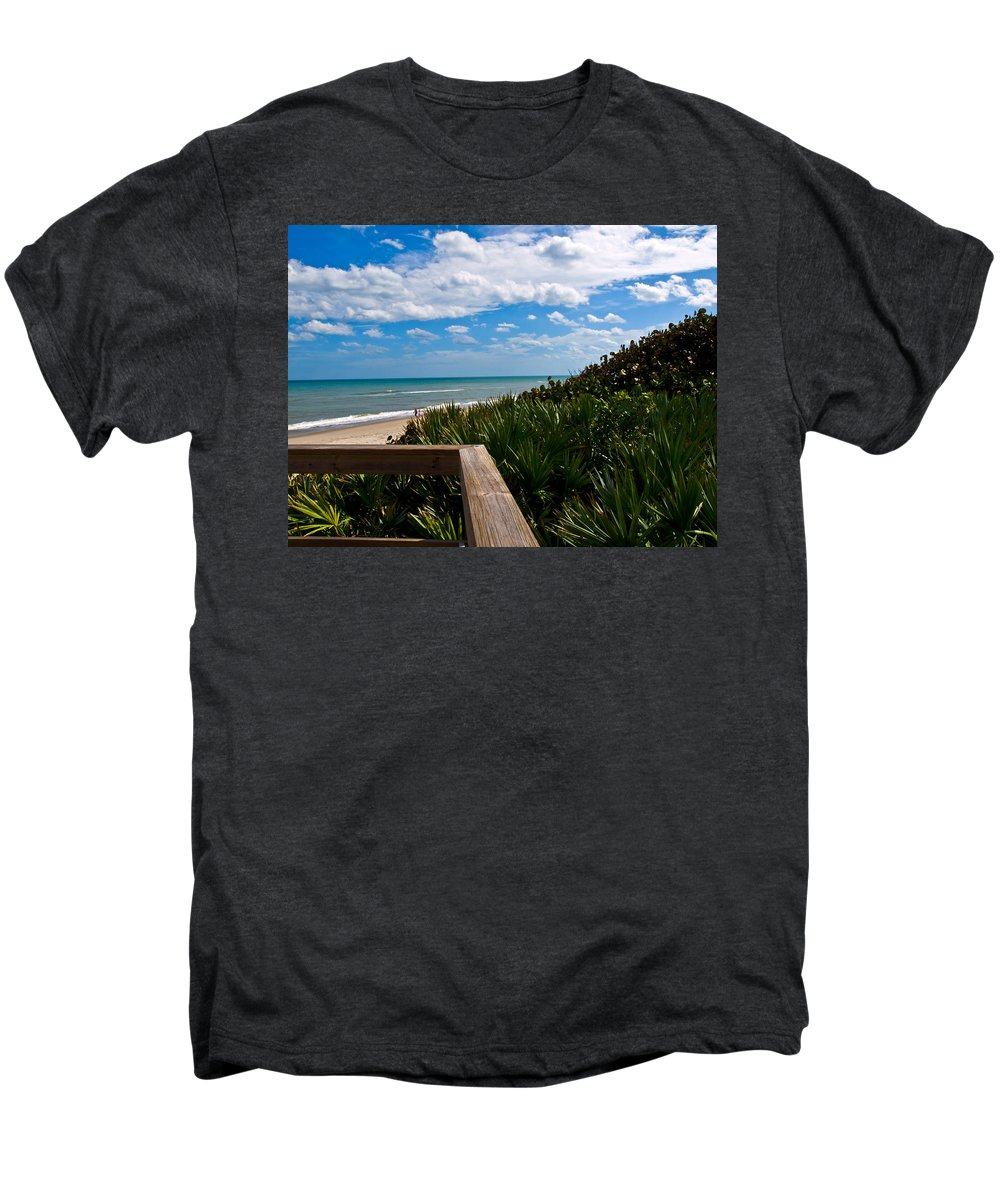 Beach; February; Florida; Warm; Warmth; Temperature; Degrees; Weather; Sun; Melbourne; Sand; Shore; Men's Premium T-Shirt featuring the photograph Melbourne Beach On The East Coast Of Florida by Allan Hughes