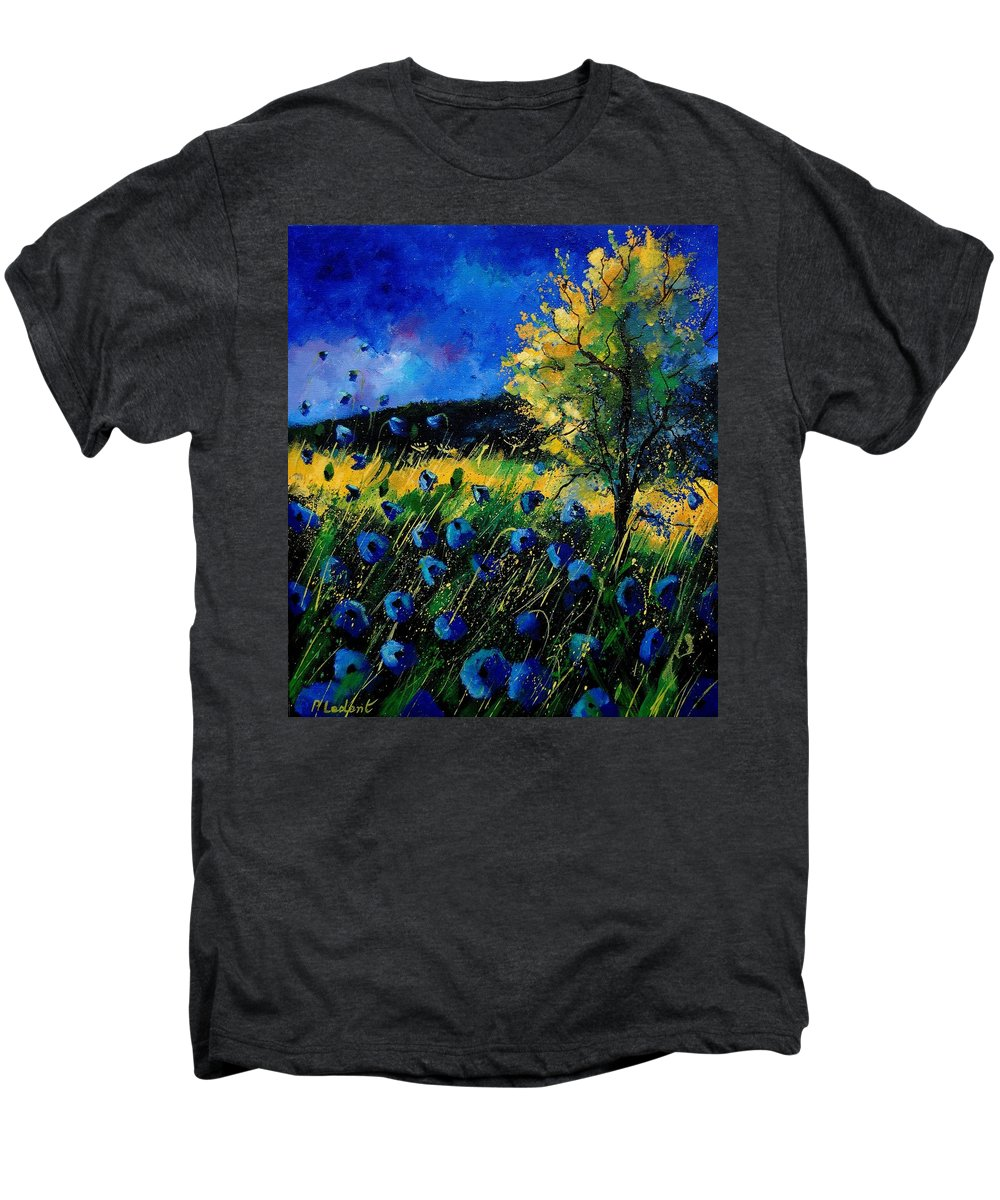 Poppies Men's Premium T-Shirt featuring the painting Blue Poppies by Pol Ledent