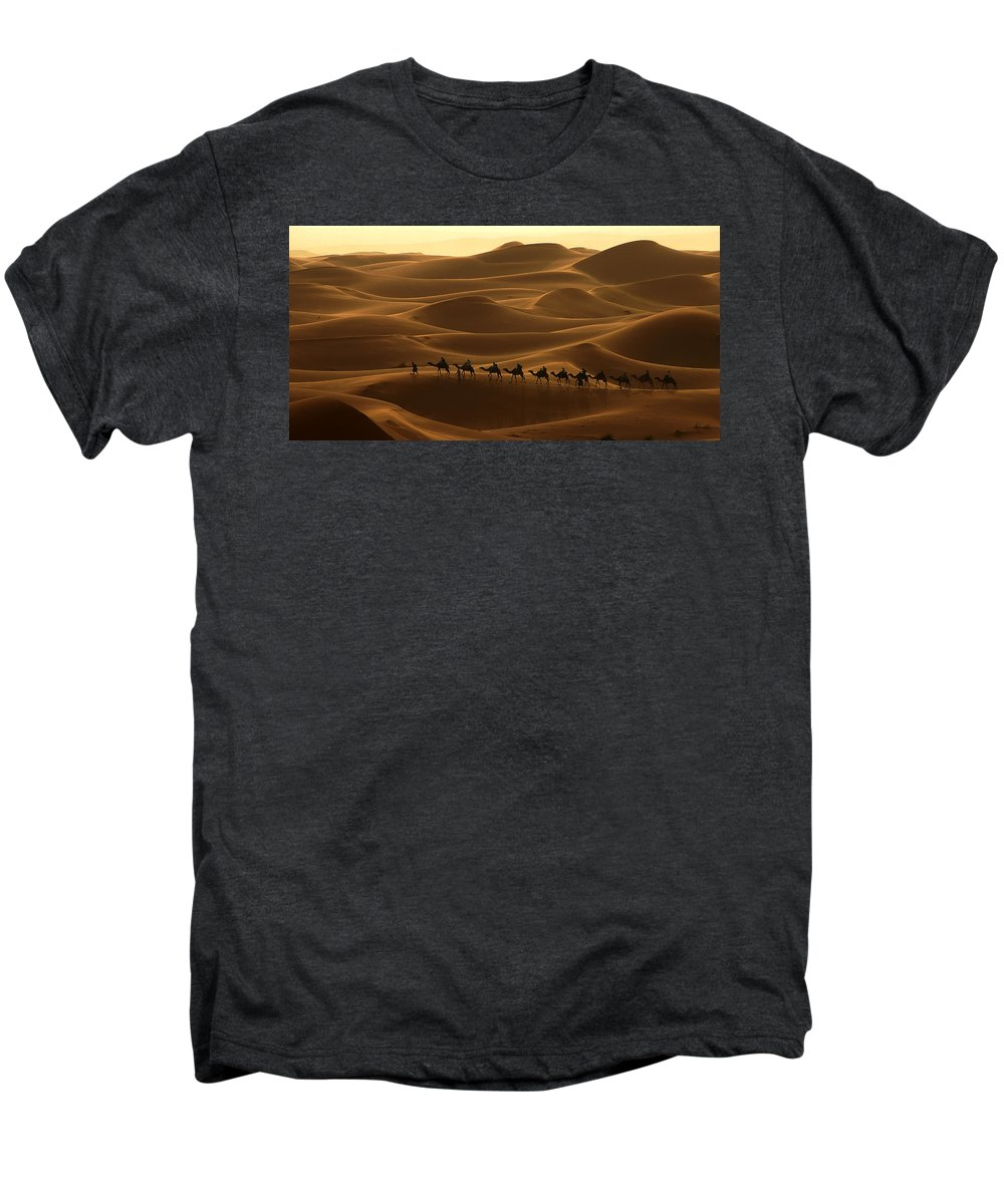 Camel Men's Premium T-Shirt featuring the photograph Camel Caravan In The Erg Chebbi Southern Morocco by Ralph A Ledergerber-Photography