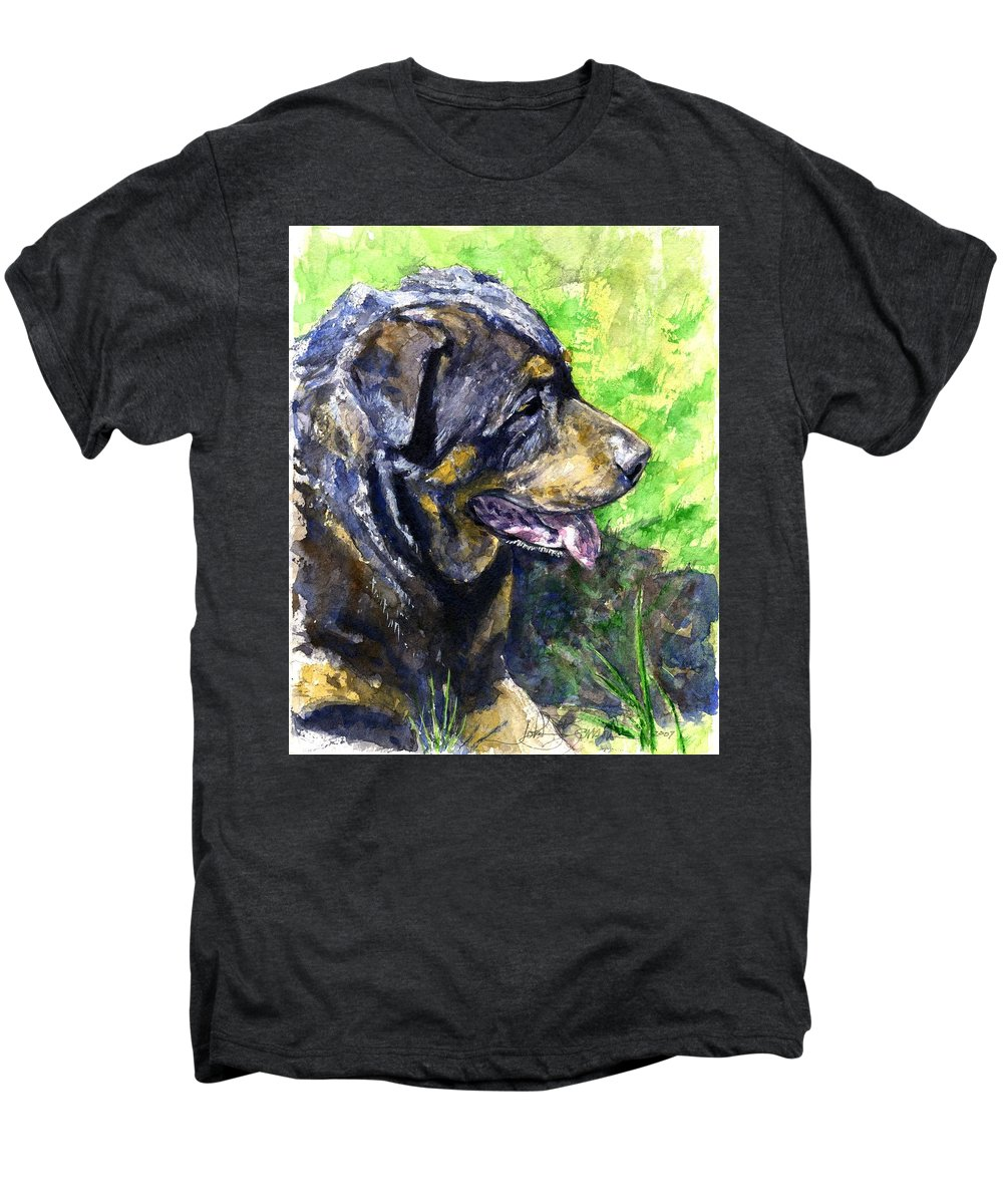 Rottweiler Men's Premium T-Shirt featuring the painting Chaos by John D Benson