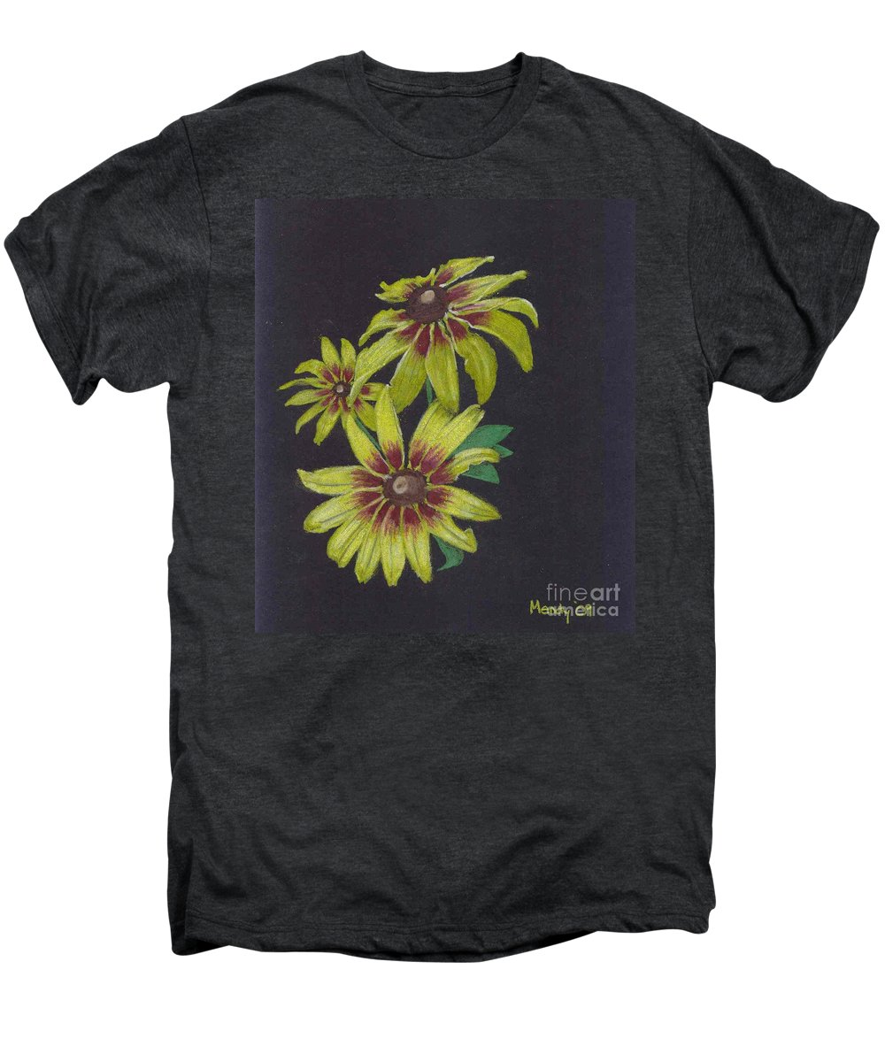 Daisy Men's Premium T-Shirt featuring the pastel Gloriosa Daisy by Mendy Pedersen