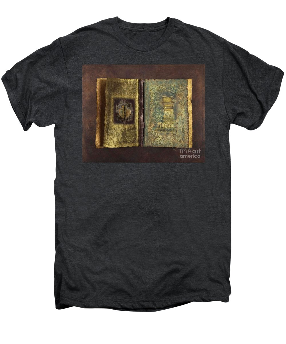 Artist-book Men's Premium T-Shirt featuring the mixed media Page Format No 1 Transitional Series by Kerryn Madsen-Pietsch