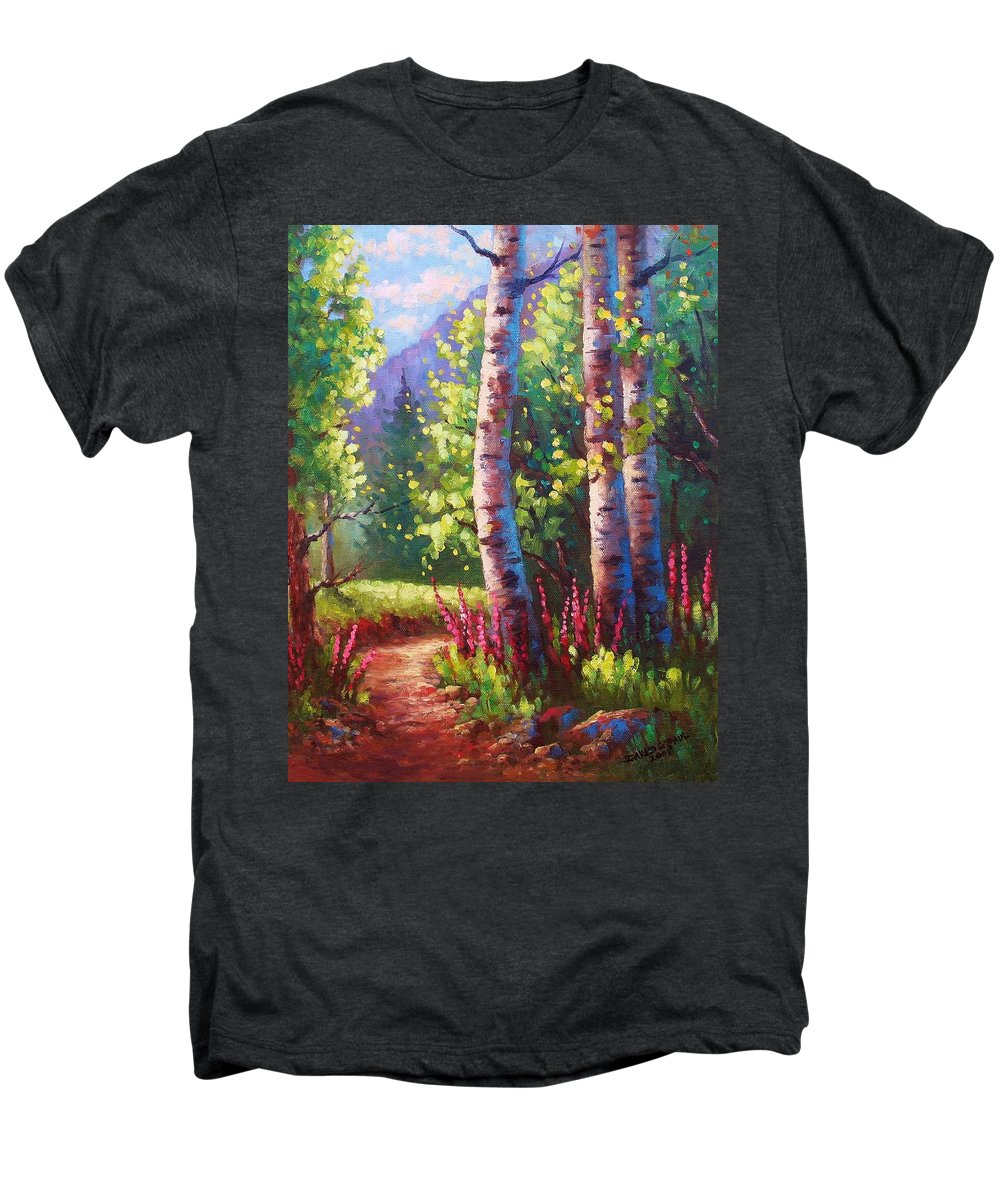 Aspen Men's Premium T-Shirt featuring the painting Spring Path by David G Paul